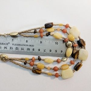 Jewelry - 3 Strand Citrine & Quartz Gold Earth Tone Necklace